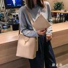子母包 水桶包女2019新款韓版簡約百搭大容量單肩包斜跨包包休閒潮 GW1184【野之旅】