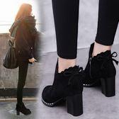 【免運】蝴蝶結加棉短靴女英倫風粗跟馬丁靴高跟女鞋  圓頭靴子 隨想曲