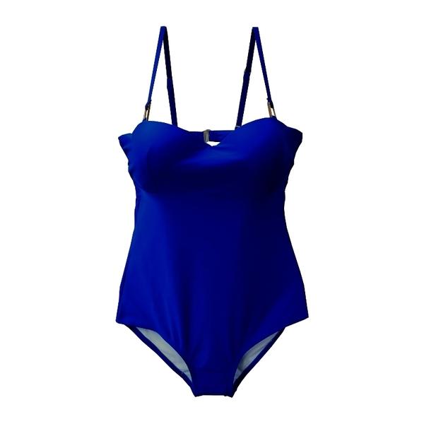 純色 方型扣環裝飾 低胸 後挖背 連身泳裝 氣質 緊身 集中鋼圈 比基尼 泳衣