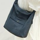 真皮側背包-大容量多口袋純色牛皮女單肩包3色74af4[巴黎精品]