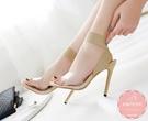 高跟涼鞋 歐美繃帶款細跟果凍一字  晚宴鞋 新娘鞋 高跟鞋 大尺碼35-40*Kwoomi-A51