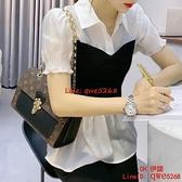 假兩件雪紡襯衫女夏裝新款韓版拼接POLO領顯瘦襯衣上衣【CH伊諾】