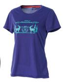荒野 WILDLAND 女 印花 抗UV高透濕上衣 圓領上衣 T恤 短袖排汗衣 運動衣 吸濕快乾 除臭 0A51693-53紫色
