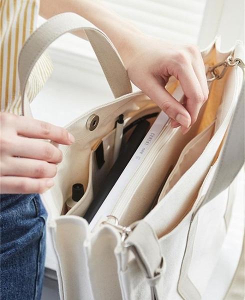 原創女包韓版商務公文包帆布側背手提包chic時尚學生書包文件包潮 韓國時尚週