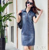 薄款牛仔連身裙2019夏裝新款洋裝大碼女裝V領短袖休閑寬鬆中長款裙潮TT559『麗人雅苑』