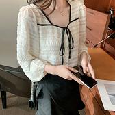 百搭方領系帶重工長袖襯衫女上衣秋冬內搭T558依佳衣