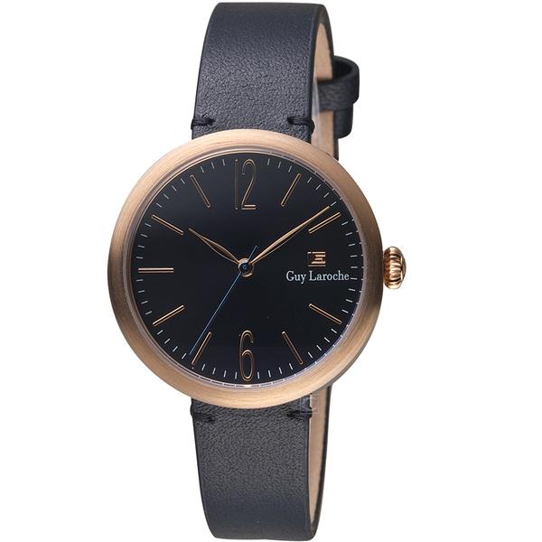 姬龍雪Guy Laroche Timepieces現代簡約時尚女錶 LW5054-16 玫瑰金x黑皮