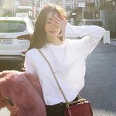 T恤 女款長袖T恤春秋新款白色t恤女長袖寬鬆韓版純色圓領內搭上衣純棉打底衫