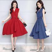 棉麻洋裝 棉麻連衣裙女裝夏季裝新款氣質西裝領中長款A字裙修身顯瘦潮 GB4580『M&G大尺碼』