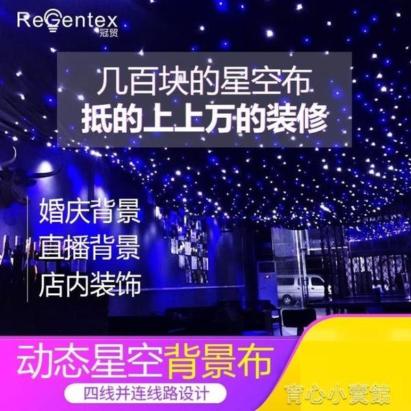 舞台燈 星空幕布婚慶背景布流行雨led燈墻面裝飾星光舞台主播直播背景布YYP 育心館