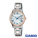 CASIO卡西歐 氣質羅馬數字施華洛世奇女腕錶-銀x28mm  SHE-4050SPG-7A