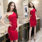 大尺碼 夏季新款 洋裝 心機斜肩時尚套裝設計感夜店性感女裝顯瘦 洋裝