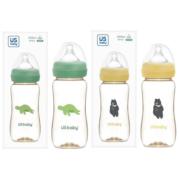 US BABY 優生 愛地球真母感PPSU奶瓶寬口徑330ml(L)-綠蠵龜/台灣黑熊【佳兒園婦幼館】