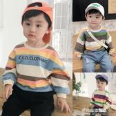 男童長袖上衣-男童衛衣秋裝新款彩條紋嬰兒上衣寶寶洋氣潮衣長袖兒童衣服小 多麗絲