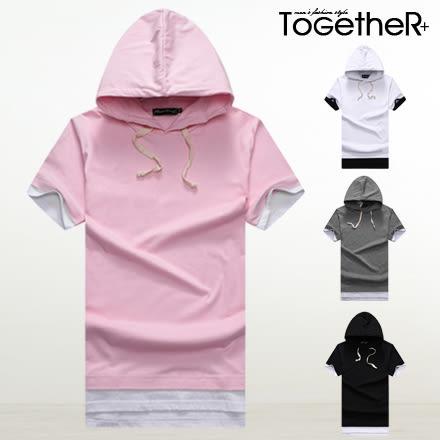 ToGetheR+【J1735】時尚極簡款素面假兩件連帽短袖上衣(四色)