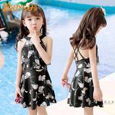 (超夯大放價)兒童泳衣 兒童泳衣中大童韓國連體公主裙式平角女童女孩學生游泳衣泳裝