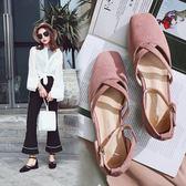 新款低跟粗跟單鞋淺口一字扣帶涼鞋女韓版顯瘦時尚平底   遇見生活
