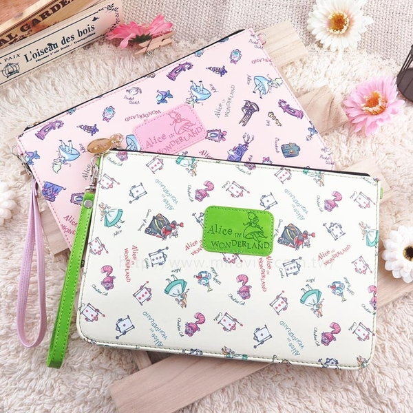 【Disney】迪士尼愛麗絲夢遊仙境8吋通用平板皮套/保護包/萬用包/手拿包