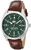 Lacoste 古典紳士皮帶錶-咖x綠