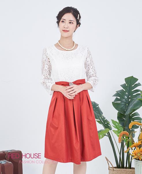 RED HOUSE-蕾赫斯-蕾絲蝴蝶結洋裝(紅色)