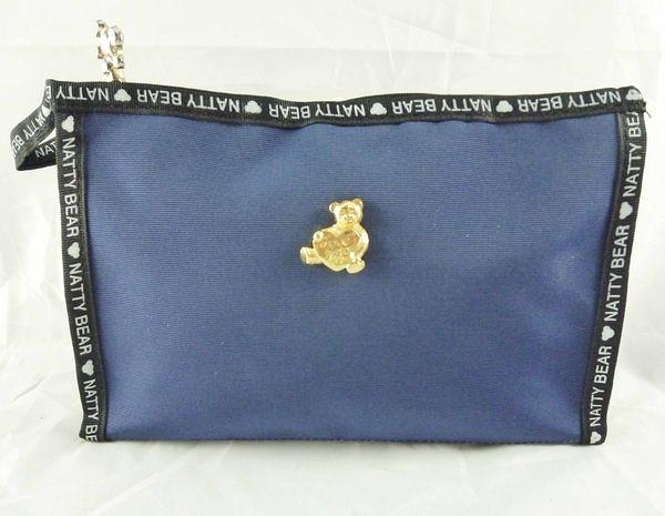 【震撼精品百貨】日本綜合熊_NATTY BEAR~拉鍊置物袋『深藍黑邊』