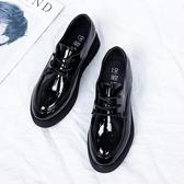 厚底小皮鞋女2018新款韓版百搭漆皮鬆糕平底英倫布洛克系帶單鞋女
