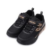 LOTTO SHINY 閃耀氣墊跑鞋 黑金 LT1AKR3070 大童鞋