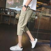 男生韓版潮流修身小腳短褲運動五分休閒中褲