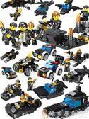 積木 玩具 積木軍事拼裝城市特警6男孩子7女孩10益智3周歲8兒童玩具igo  免運 維多