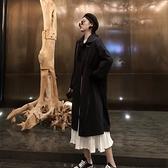 春秋女新款復古黑色寬鬆流行大衣中長款風衣韓版過膝學生外套