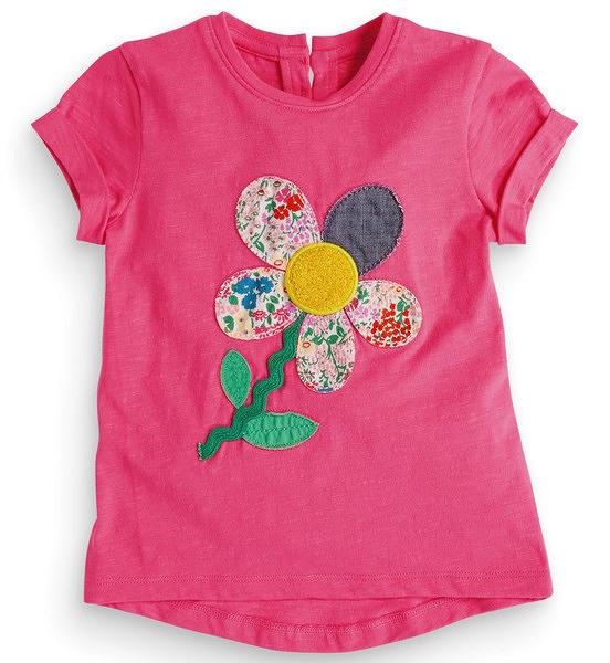 女Baby女童裝短袖T恤桃粉色貼布花朵純棉短袖上衣現貨 歐美品質