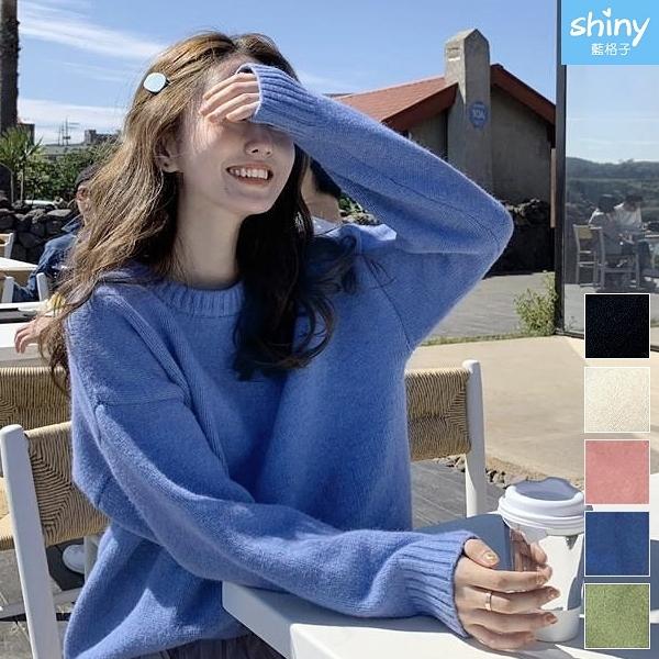 【V3192】shiny藍格子-慵懶風.純色圓領寬鬆長袖針織上衣
