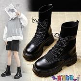 馬丁靴 內增高馬丁靴女英倫風2021年新款秋冬季中筒百搭瘦瘦雪地棉短靴子 寶貝計畫