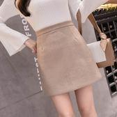 冬裝毛呢包臀裙 高腰小a字裙短裙ins超火的呢子半身裙GT6F-632-C依佳衣