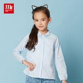 JJLKIDS 女童 高質感點點純棉襯衫(天藍)