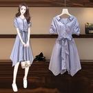 襯衫洋裝 大碼女裝夏季適合胖人穿的裙子微遮肚顯瘦連身裙-Ballet朵朵