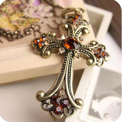 復古十字架 項鏈 歐美飾品 項鍊 女 長項鍊 毛衣鏈 奢華 鑲鑽 復古風 簡約 百搭 配飾