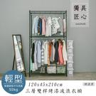 收納架/置物架/衣櫥架  輕型120x45x210cm 三層雙桿烤漆黑衣櫥  dayneeds