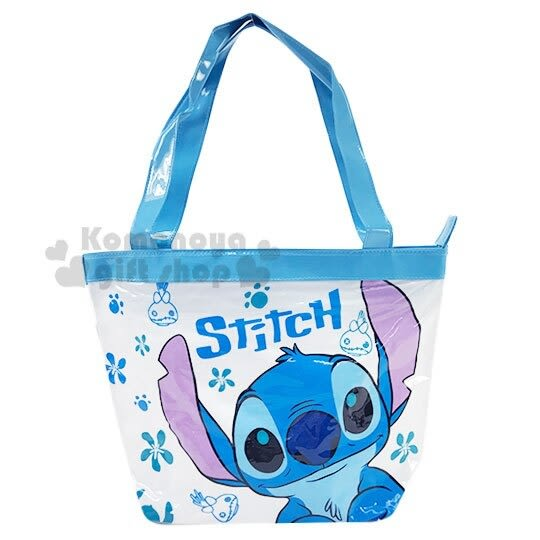 〔小禮堂〕迪士尼 史迪奇 防水海灘袋側背袋《藍白.大臉》肩背袋.透明游泳袋 4713549-01965