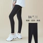 運動褲 高腰收腹超彈力萊卡涼感滑布質料修身內搭褲S-XL號-BAi白媽媽【306092】