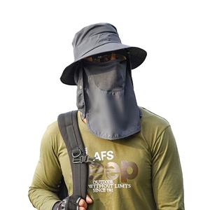PUSH!戶外用品防曬帽子遮陽帽漁夫帽釣魚透氣遮臉帽H34深灰色