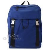 茱麗葉精品【全新現貨】 PRADA 2VZ062 三角LOGO尼龍帆布硬式束口後背包.藍色