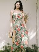 長裙女夏2020新款收腰中長款V領開叉吊帶裙雪紡度假印花連身裙