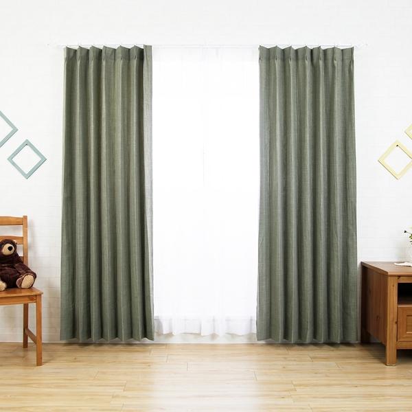 台灣製 既成窗簾【松葉綠簾】100×165cm/片(2片/組) 可水洗 落地窗簾兩倍抓皺 型態記憶加工