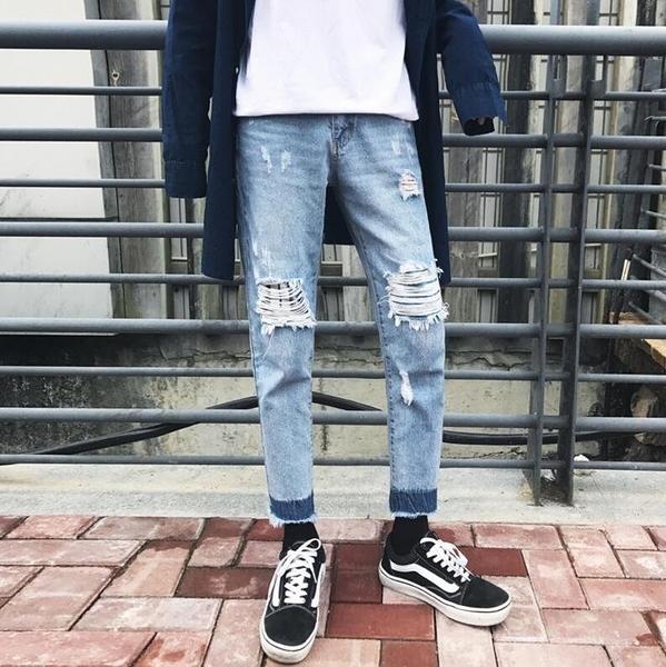 FINDSENSE品牌 男 時尚 潮 街頭 時尚 破洞 洗白 撞色褲腳 休閒牛仔