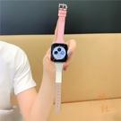 適用蘋果手表錶帶iwatch撞色T字apple watch【橘社小鎮】