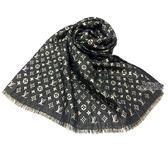 【Louis Vuitton 路易威登】M73938 MONOGRAM SO GLITTER金色亮絲經典字紋絲質抓縐披肩/圍巾(黑色)