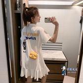 洋裝 裙子女夏氣質顯瘦Polo領短裙甜美荷葉邊仙女裙學院風印花百褶裙 2色