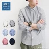 春季潮流襯衫男日系青年素面休閒寬鬆長袖襯衣男學生外穿上衣