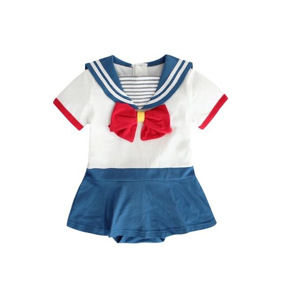 日系水手服 卡通造型包屁衣 短袖連身衣 32005